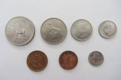 Half Crown, 2 shilling, shilling, sixpence, ticky,penny, half penny & CENTS