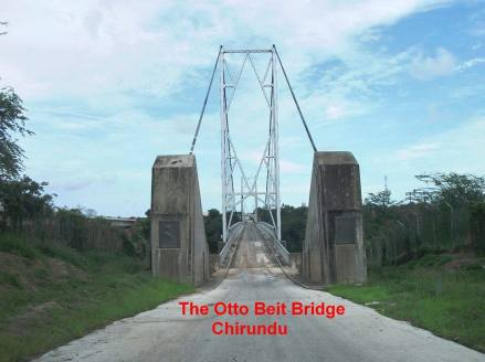 Old Chirundu bridge over the Zambesi River to Zambia
