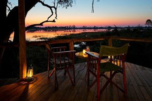 Is the glass half full or half empty; is this sunrise or sunset at Xigera Camp smack in the middle of the Okavango Delta. Xigera is one of the oldest camps in the Delta
